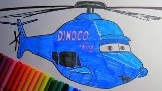 How To Draw and Color ROTOR TURBOSKY Helicopter Dinoco  from CARS 3 2017