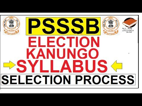 ELECTION KANUNGO SYLLABUS || PSSSB KANUNGO SYLLABUS || PUNJAB JOB