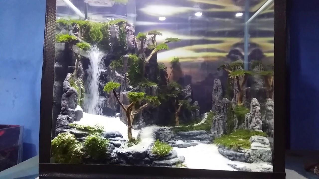 Aquascape air terjun mini - YouTube