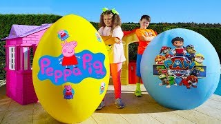 Ali and Adriana play with Surprise eggs w/ Peppa Pig and Paw Patrol toys