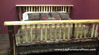 Flat Top Log Bed From The Cedar Lake Collection At Logfurnitureplace.com