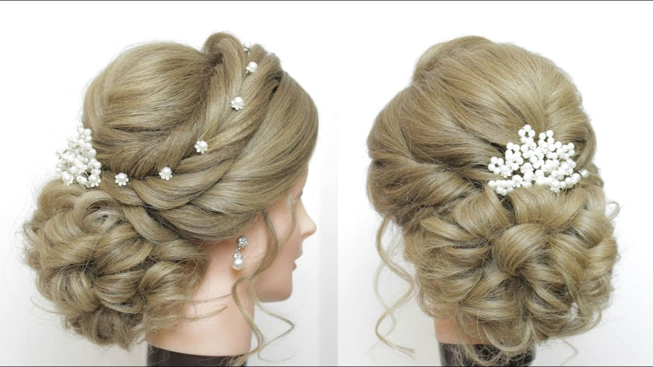 Romantic Wedding Updo Bridal Hairstyle For Long Hair Tutorial