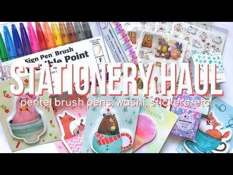 🍭 Stationery Haul - Pentel Brush Pens, Washi, Stickers, etc. | haul video