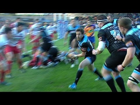 Ruaridh Jackson dummies and dives in for great Try - Glasgow Warriors v Edinburgh 26th April 2014