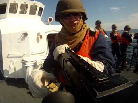 Gunnery exercise aboard a Coast Guard patrol boat
