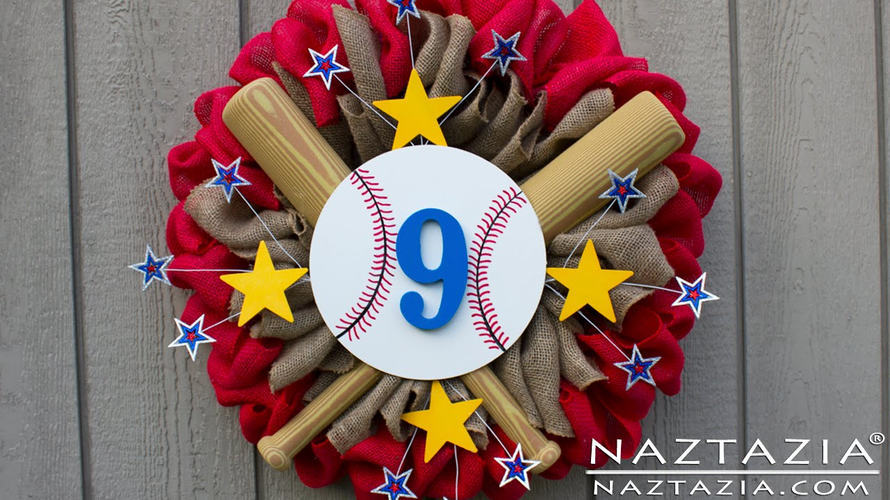 Diy How To Make An Easy Burlap Sports Wreath For Baseball Basketball