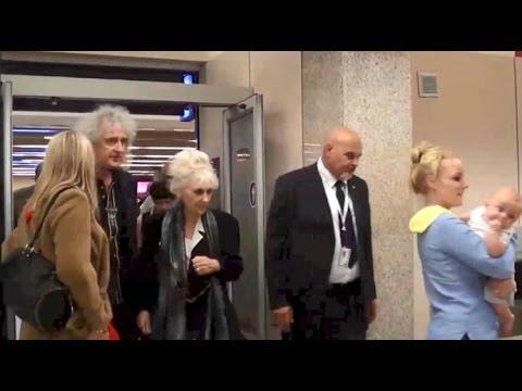 Brian May, Anita Dobson & Kerry Ellis Malta Airport Arrival Hall 04 April 2014