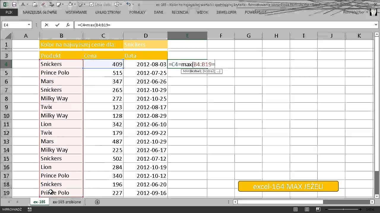 Excel 165 Kolor Na Najwyższej Wartości Spełniającej Kryteria