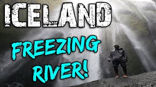 Walking Through A FREEZING Cave River in Iceland!