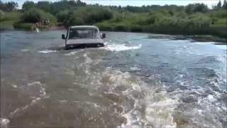 Брод через реку Угра.  Как топят машины.