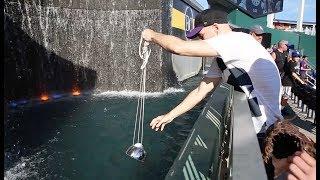 Scooping baseballs from the fountain at Kauffman Stadium