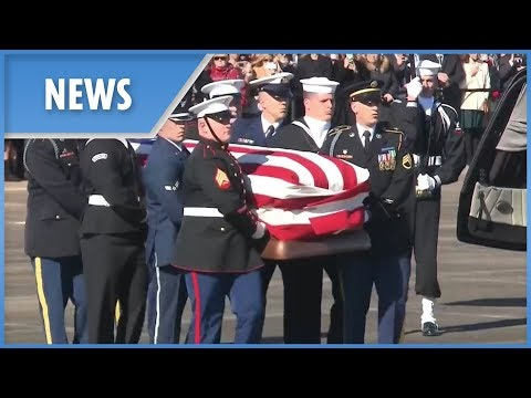 George H. W. Bush's casket loaded onto Air Force One