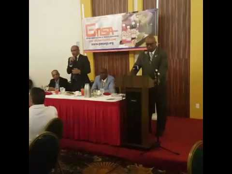 Bharrat Jagdeo takes questions at the Business Luncheon of Guyana Manufacturing & Service Associatio