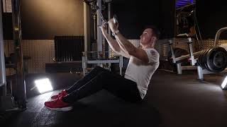 High Cable seated underhand bar row