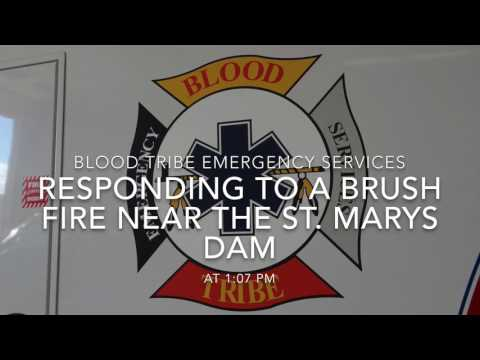 Blood Tribe Fire dept. and Ambulance Responding to a brush fire near the St. Mary's dam