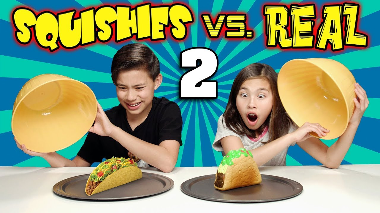Squishy Toys Vs Real Food : SQUISHY FOOD VS. REAL FOOD CHALLENGE 2!!! More JUMBO SQUISHIES! - YouTube