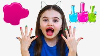 Polina pretend play with magic nail polish colors | Color Song