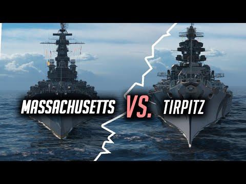 👍 MASSACHUSETTS ИЛИ TIRPITZ? 👍 БИТВА ТИТАНОВ World of Warships