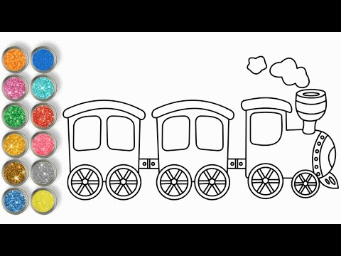 How to Draw Train For Kids ♥ Drawing and Coloring Page ♥ vẽ xe lửa cho bé