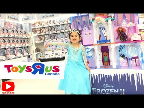 NEW FROZEN 2 AND DISNEY PRINCESS TOY HUNT AT TOY'S R US!! | ELSA ANNA CASTLE DOLLS AND COSTUME!!