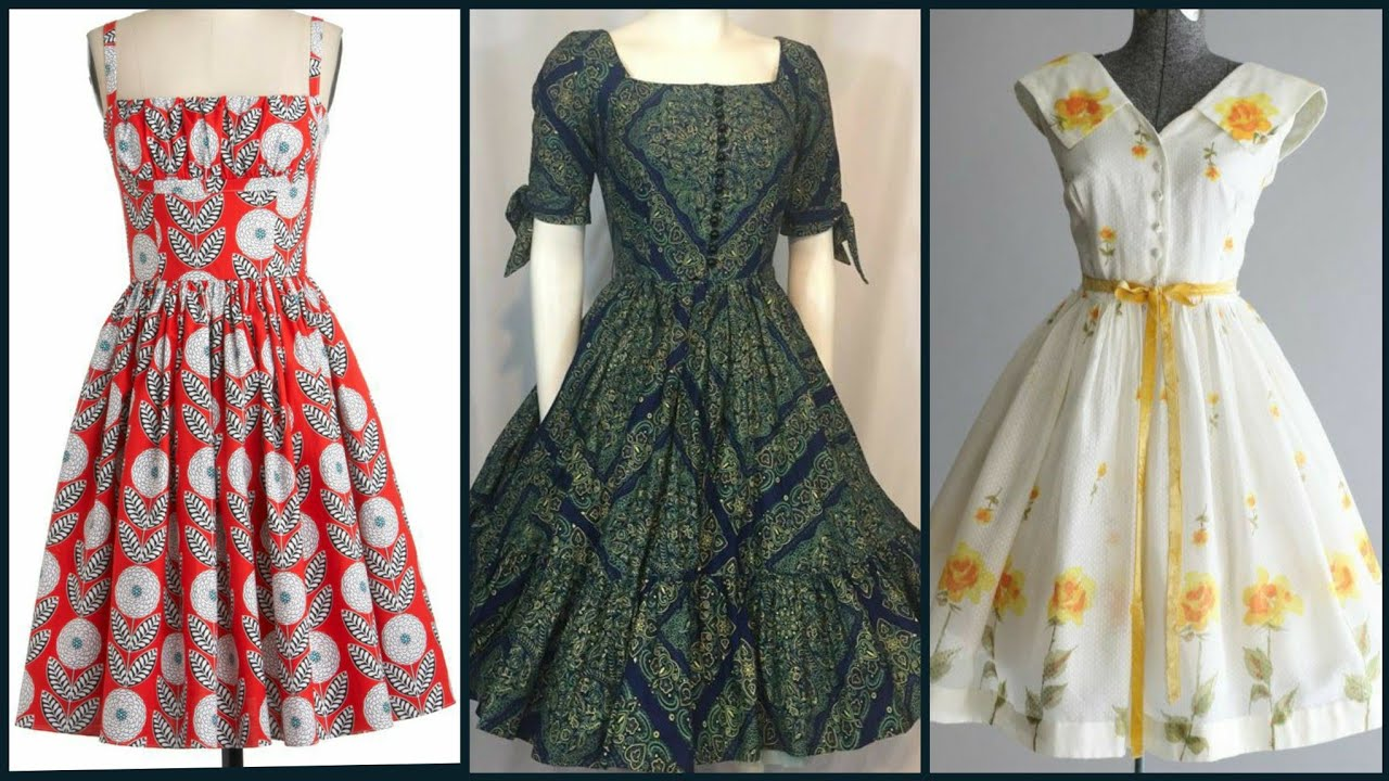 midi a-line dresses/floral prints flare day time party dresses styles and ideas/retro dress