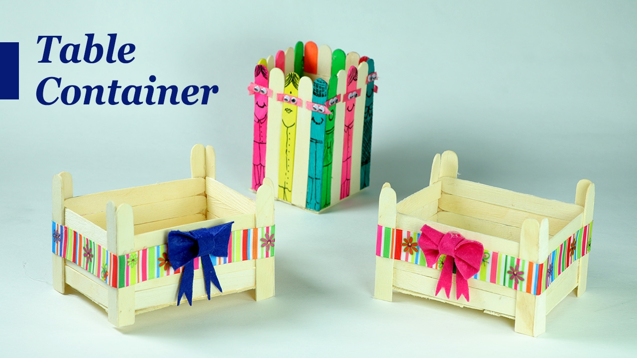 Popsicle Stick Crafts Cute Containers For Your Dining Drawing
