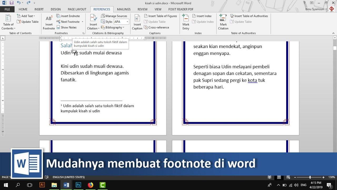 Cara Membuat Footnote Atau Catatan Kaki Di Microsoft Word Tutorial89 Youtube