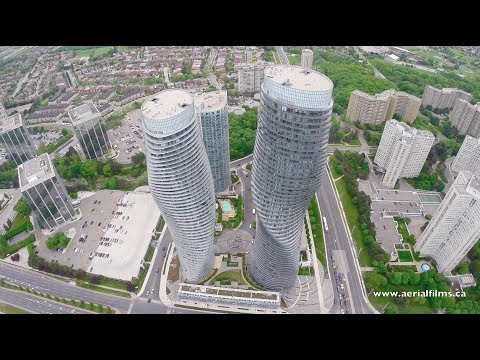 Drone view of the city of Mississauga, ON.