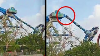 Theme Park Pendulum Ride Snaps in Mid-Air