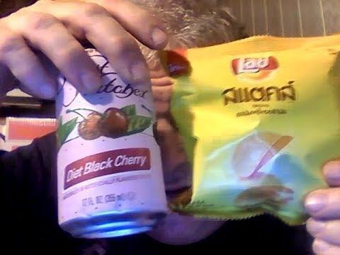 Waist Watchers diet black cherry soda in a can a movie review  Lays original potato crisps| Thailand