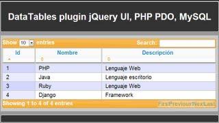 DataTables Plugin con jQuery UI, PHP PDO y MySQL