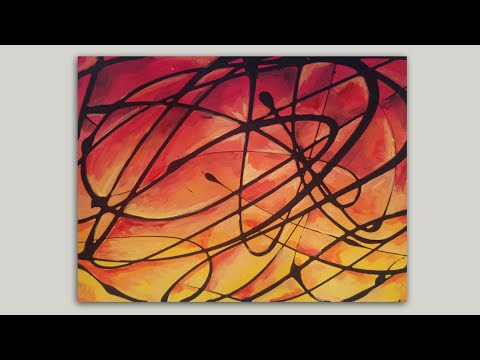 Psychedelic Abstract Painting with Acrylic Paint / Super Easy Painting Tutorial Demonstration thumbnail