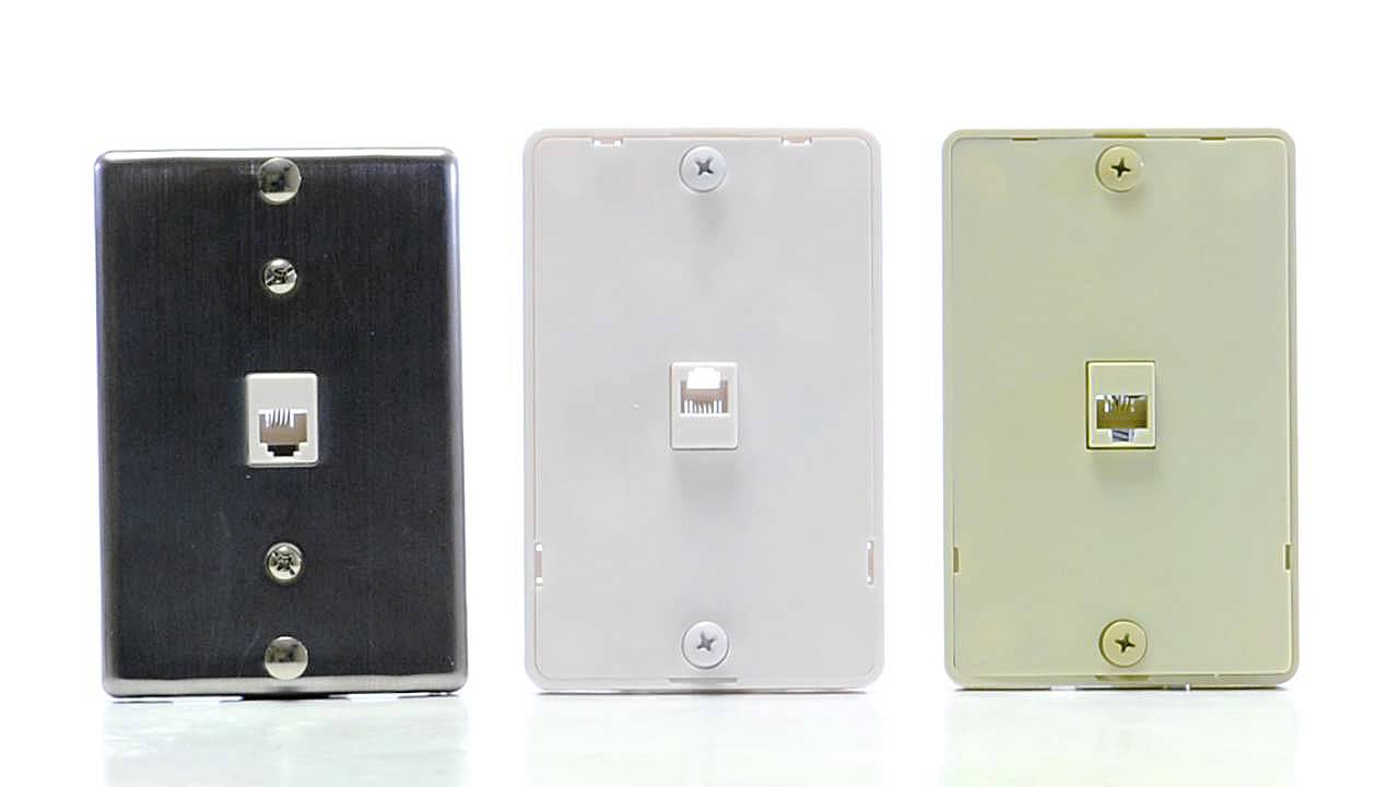Rj11 4 Conductor Wall Plate - 1 Port -  15-100-028
