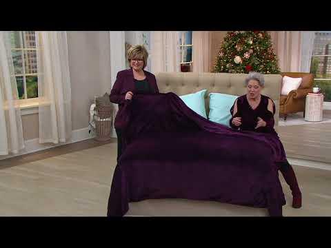 Berkshire Blanket Velvet Soft Reverse to Fluffie Blanket on QVC ...