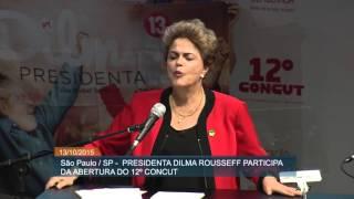 Presidenta discursa em defesa da democracia durante Congresso Nacional da CUT