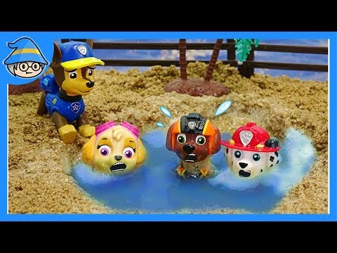 Paw Patrol Playing sand and water. Puppy rescue team, rescue mission start.