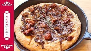 Caramelized onions and dried tomatoes cast iron skillet pan pizza