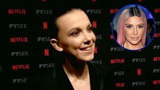 Millie Bobby Brown TEASES Kim Kardashian Stranger Things Cameo & Offers Leonardo DiCaprio Role thumbnail