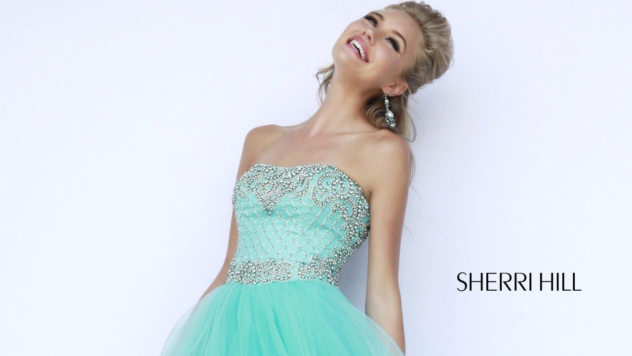 Sherri Hill 11185 Prom Dress Tie Skirt Beaded Bodice Ballgown