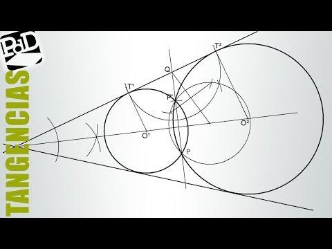 Circunferencias tangentes a dos rectas que se cortan pasando por un punto.