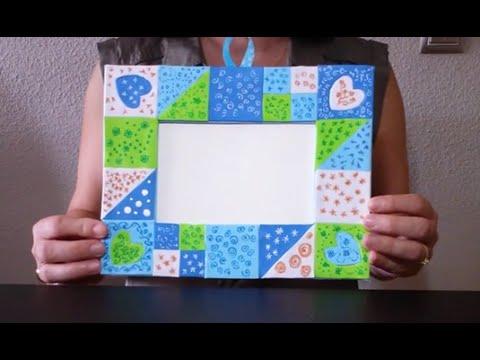 Como hacer un marco con patchwork de goma eva facilisimo - Hacer marco fotos ...