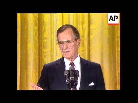 President George H. W. Bush discusses US-China relations during an primetime press conference