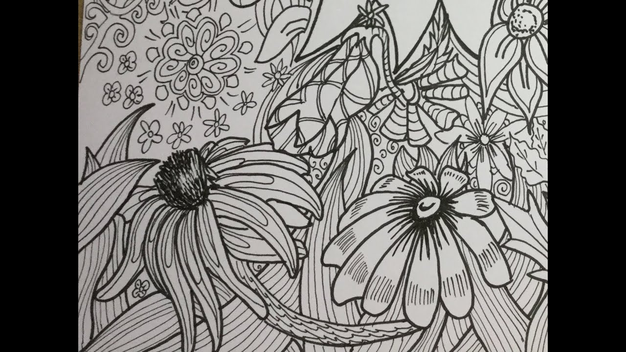 Original Handmade Adult Coloring Page Flower Pattern DIY