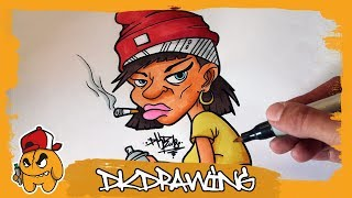 Time Lapse Graffiti Girl Character Speed Drawing/Coloring