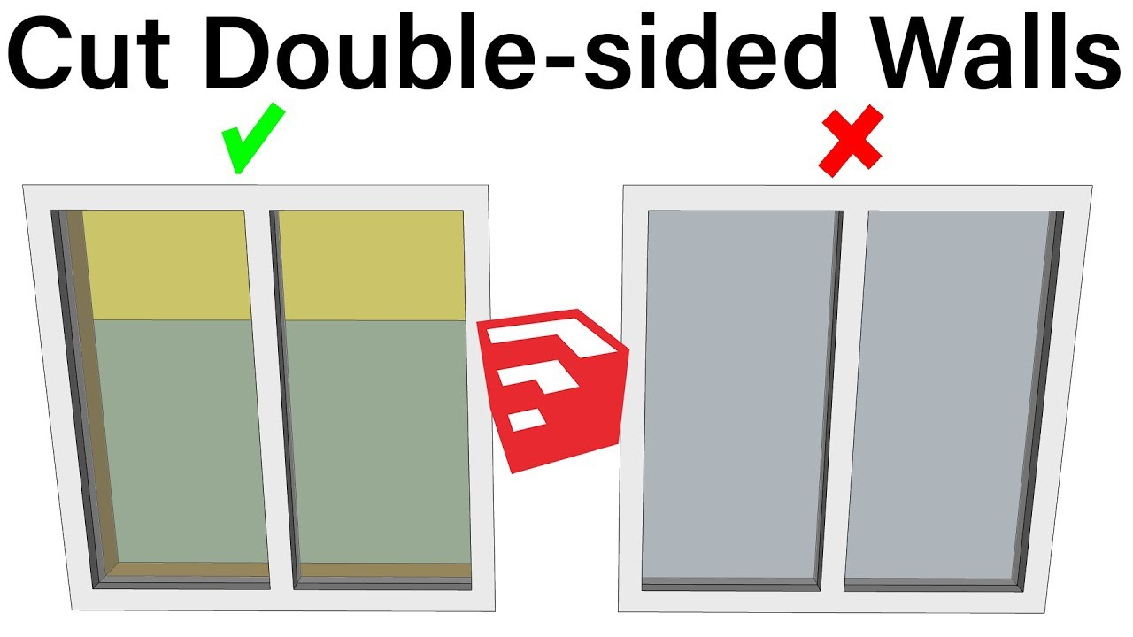 Cut Double-sided Walls With Hole Punching Tool | SketchUp Plugin