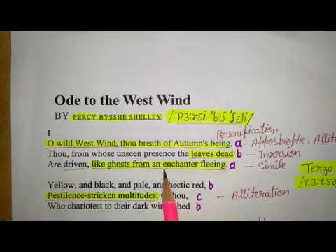 Ode to the West Wind by Percy Bysshe Shelley. Explanation in Hindi.