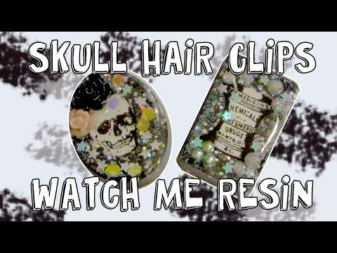 Watch Me Resin: Skull Hair Clips