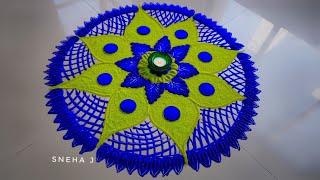 Very very easy and simple rangoli design by Sneha J
