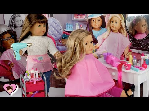 Doll Hair Salon Toy Pretend Play - American Girl School Morning Routine