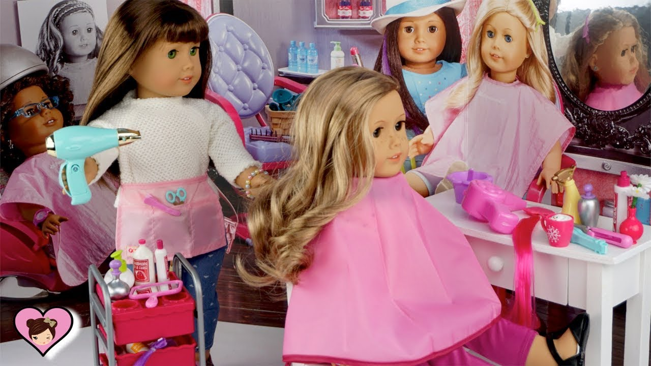 doll hair salon toy pretend play american girl school morning routine youtube. Black Bedroom Furniture Sets. Home Design Ideas